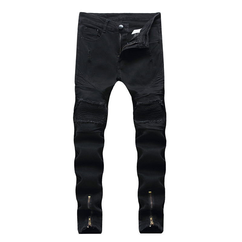 Jeans Men'S Wear Casual With Holes Men Cowboy Pants Europe And America Elasticity Skinny Pants