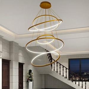 Image 4 - חדש הגעה קלאסי מעגל טבעת Led מודרני תליון אור סלון חדר שינה לבן שחור כסף זהב מסגרת בית תאורה