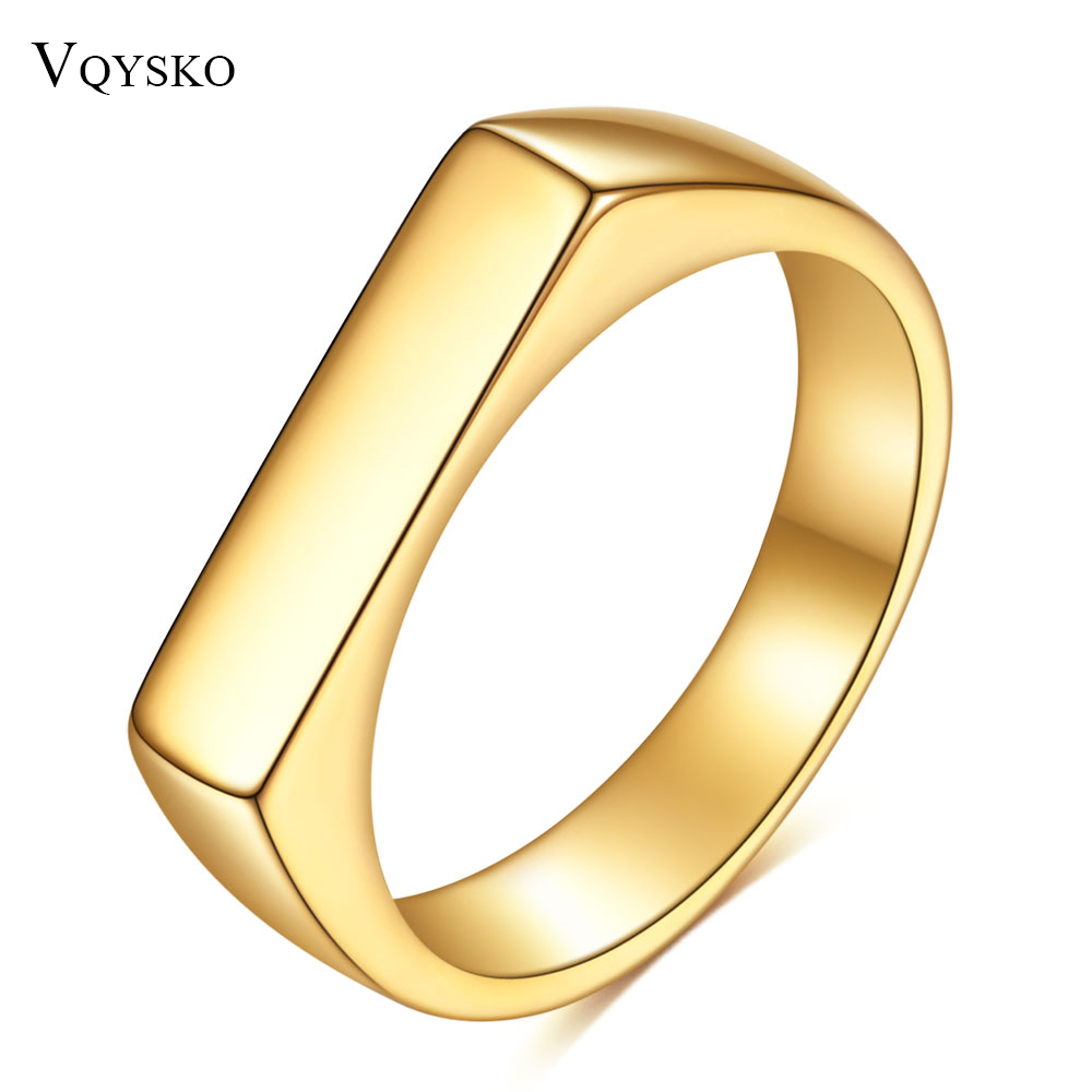 Square Band Flat Top Woman Signet Ring Gold Color Stainless Steel Vint