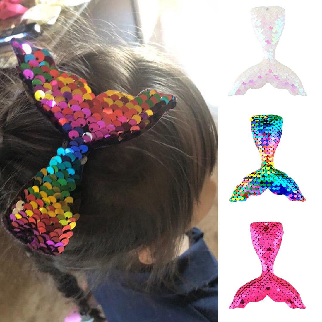 Mermaid design sequins hairpins girl hair clips kids headwear accessories