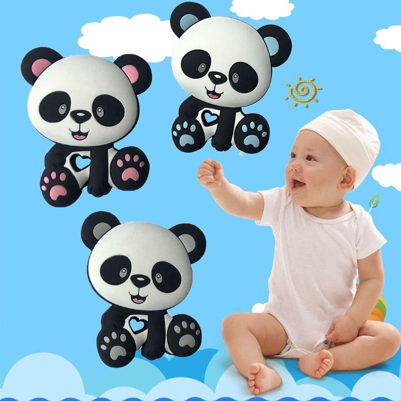 Juguetes para bebés con cuentas de Panda, mordedor de silicona, chupete para dentición DIY, cadena para morder, morder, colgante para niños y bebés Mini tortuga personalizada silicona chupete clip silicona masticar perlas joyería dentición bebé