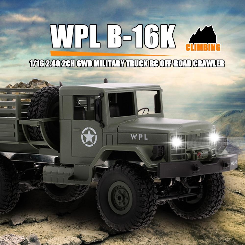 Camión Militar todoterreno a control remoto WPL B-16K 1/16, Servo con Motor ligero, juguete para niños RTR