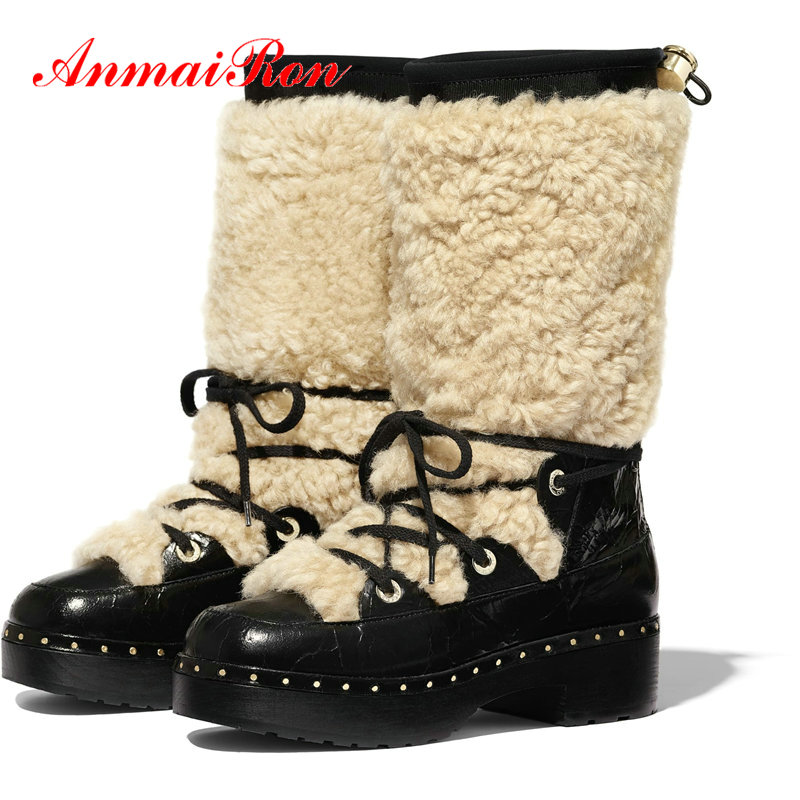 ANMAIRON 2019 Womens Winter Fashion Round Toe Snow Boots Genuine Leather Lace-Up Square Heel Platform Boots Warm Women Shoes