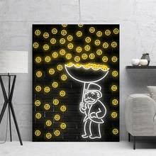 Decoración de oro lluvia de dinero lienzo de pintura de papel fotos pared arte impresiones de alta definición de moda Modular cartel para el dormitorio