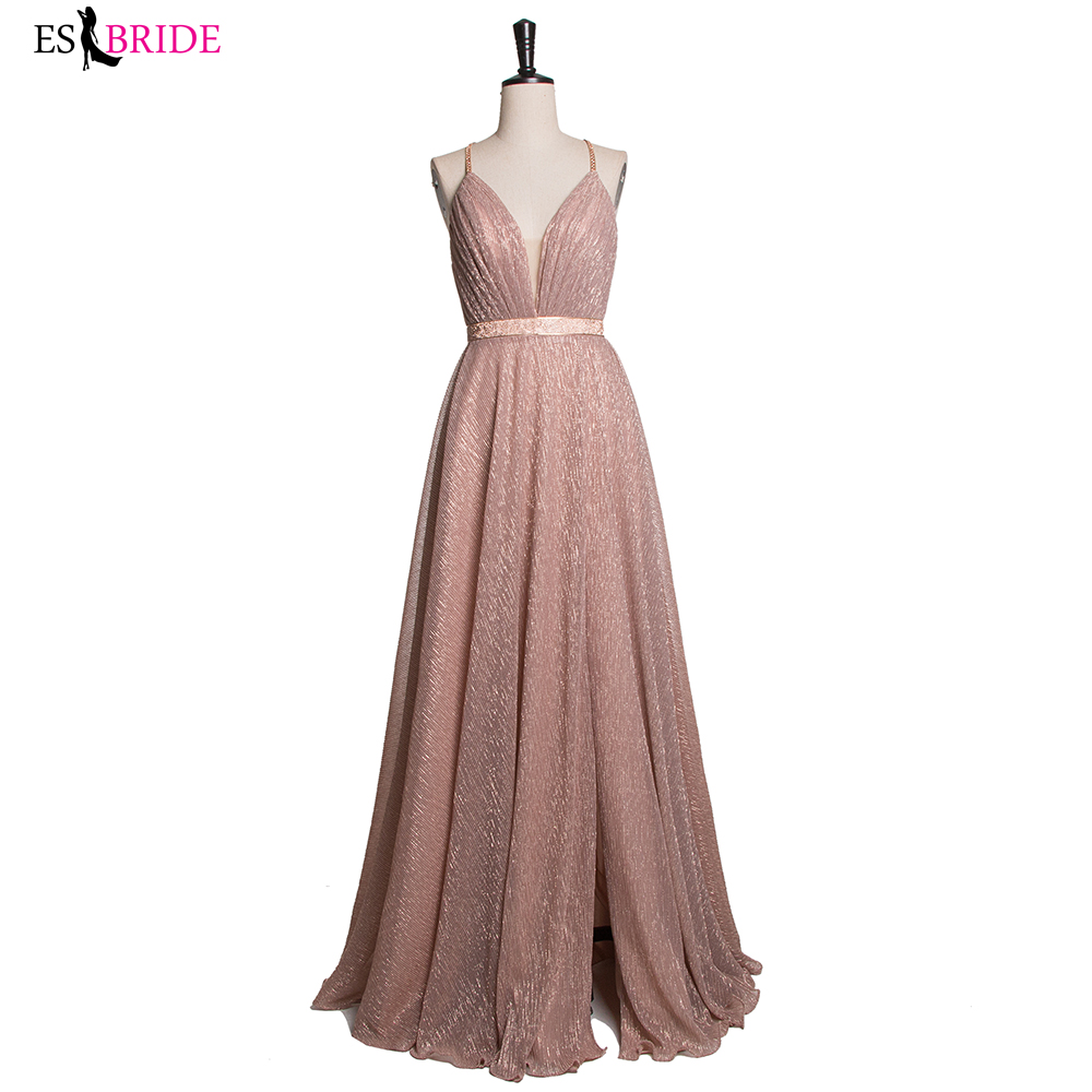 Sexy Backless Cross A-Line Long Evening Dresses 2019 V Neck Split Champagne Pink Prom Dress Gown Vestidos De Festa