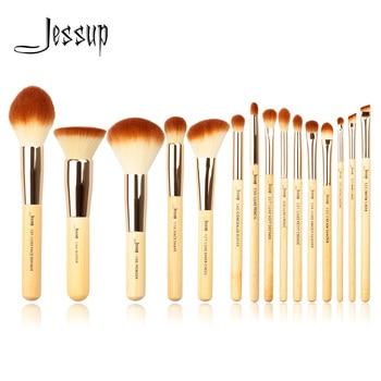 Jessup Bamboo 15pcs Beauty Professional Makeup Brushes Set Make up Brush Tools kit Foundation Powder Definer Shader Liner