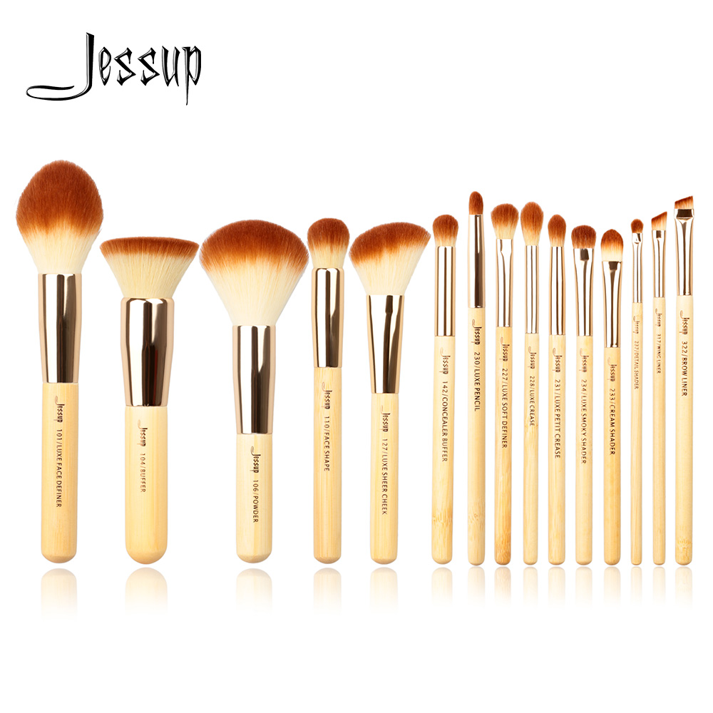 Jessup Bamboo 15pcs Beauty Professional Makeup Brushes Set Make Up Brush Tools Kit Foundation Powder Definer Shader Liner