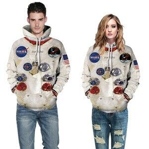 Image 2 - BombFun mężczyźni bluzy z kapturem Armstrong 3d bluzy męskie skafander bluza z kapturem druku z kapturem para dresy damskie bluzy z kapturem Cosplay astronauta