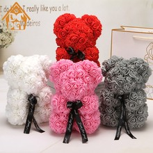 25cm Bear of Rose Dolls PE Artificial Rose Handmade Romantic Love Heart Rose Flower Bear Foam Toy Valentine's Day wedding Gift(China)