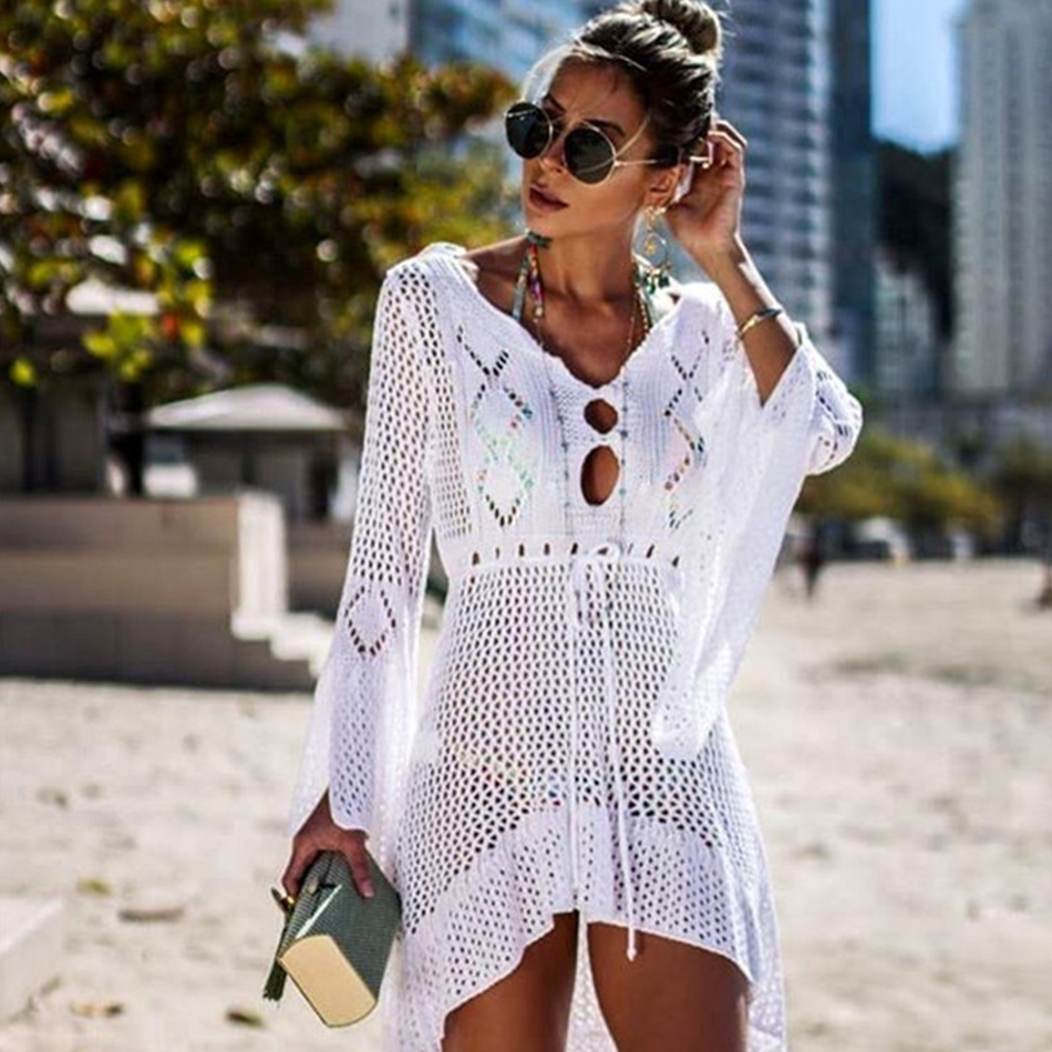2019 Sexy Bikini Cover Up Crochet Knitted Beach Cover Up Women Swimsuit Cover Up Beach Dress Bathing Suits Cover-Ups Beachwear