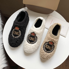 Купить с кэшбэком Freeshipping 2019 Winter New flat shoes women home interior plus velvet belt thick bottom warm lamb wool Embroidery Cotton shoe
