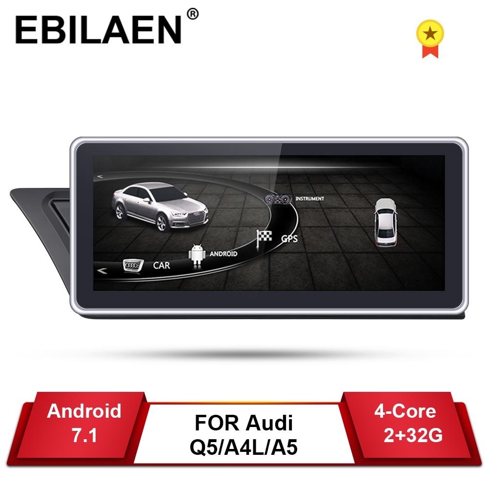 Lecteur DVD GPS de voiture pour Audi A4L B8 A5 2009-2017 Android 7.1 2Din AutoRadio de voiture multimédia navigation 2GB + 32GB IPS écran