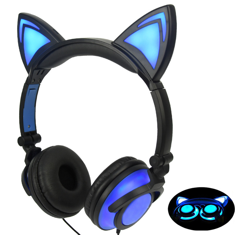 Image 2 - LIMSON Wired Stereo Cartoon Kids Earphone Foldable LED Flashing Cat Ear Cute Headphones for children-in Headphone/Headset from Consumer Electronics