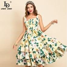 LD LINDA DELLA 2021 Summer Fashion Runway abito in cotone donna cinturino per Spaghetti stampa floreale abiti eleganti per le vacanze a file Midi