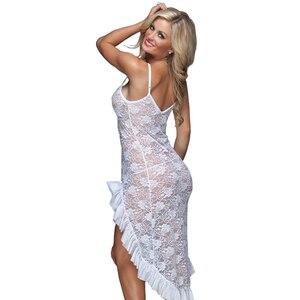 Image 4 - Robe longue, lingerie sexy, en dentelle, grande taille, M,XL,XXXL,XXXXL, ficelle, robe de nuit, bretelles pour la maison, pour lété, S 6XL