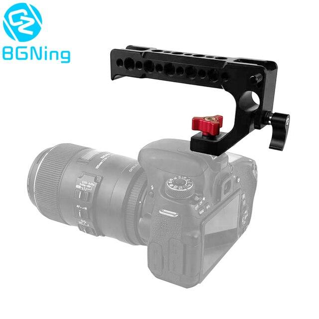 BGNing الألومنيوم مقبض علوي قبضة الحذاء الساخن الباردة الجبن مقبض ل DSLR كاميرا 15 مللي متر تلاعب قضيب المشبك السكك الحديدية تمديد قفص محول تركيب