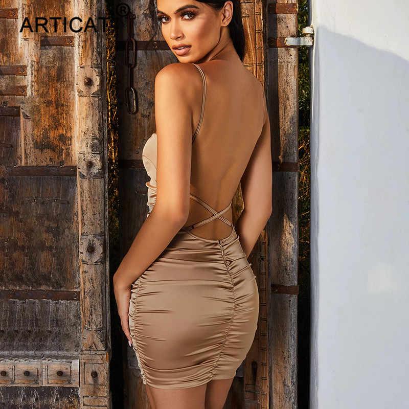 Articat Спагетти ремень Мини Атласное Платье женское сексуальное с открытой спиной Бандажное платье с перекрещиванием Bodycon Вечерние платья Плиссированное стрейч короткое платье для вечеринки