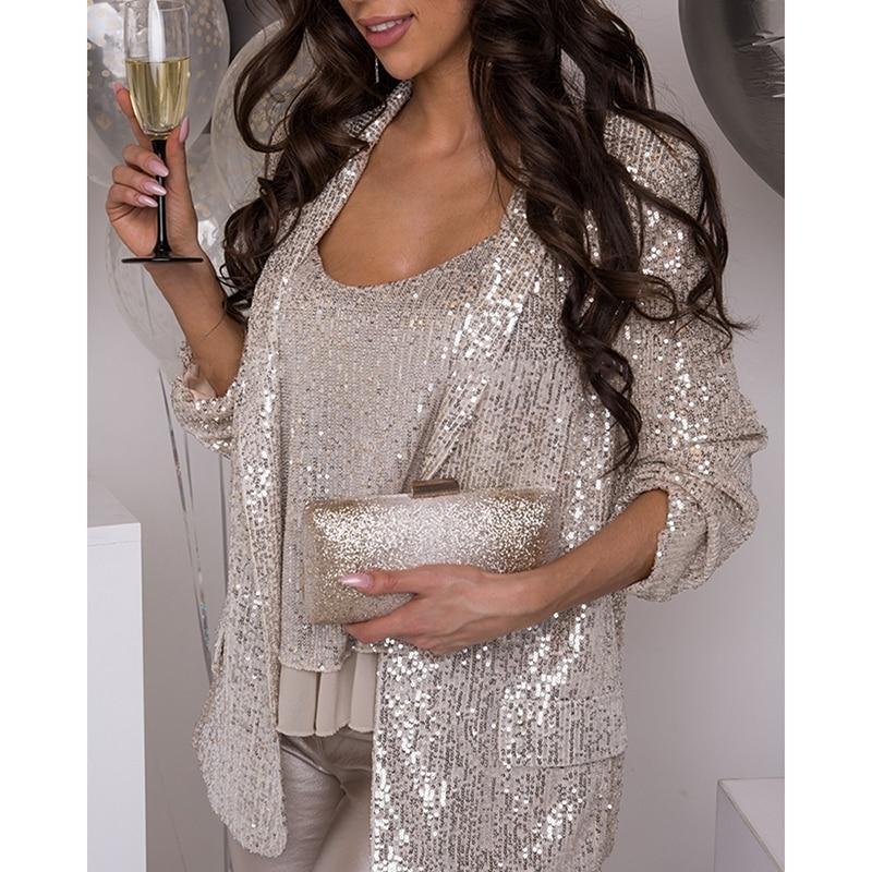 Женская одежда, комплект из двух предметов, сексуальный жилет с блестками и пальто, Женский верх и куртка, элегантный женвечерние вечерний к...
