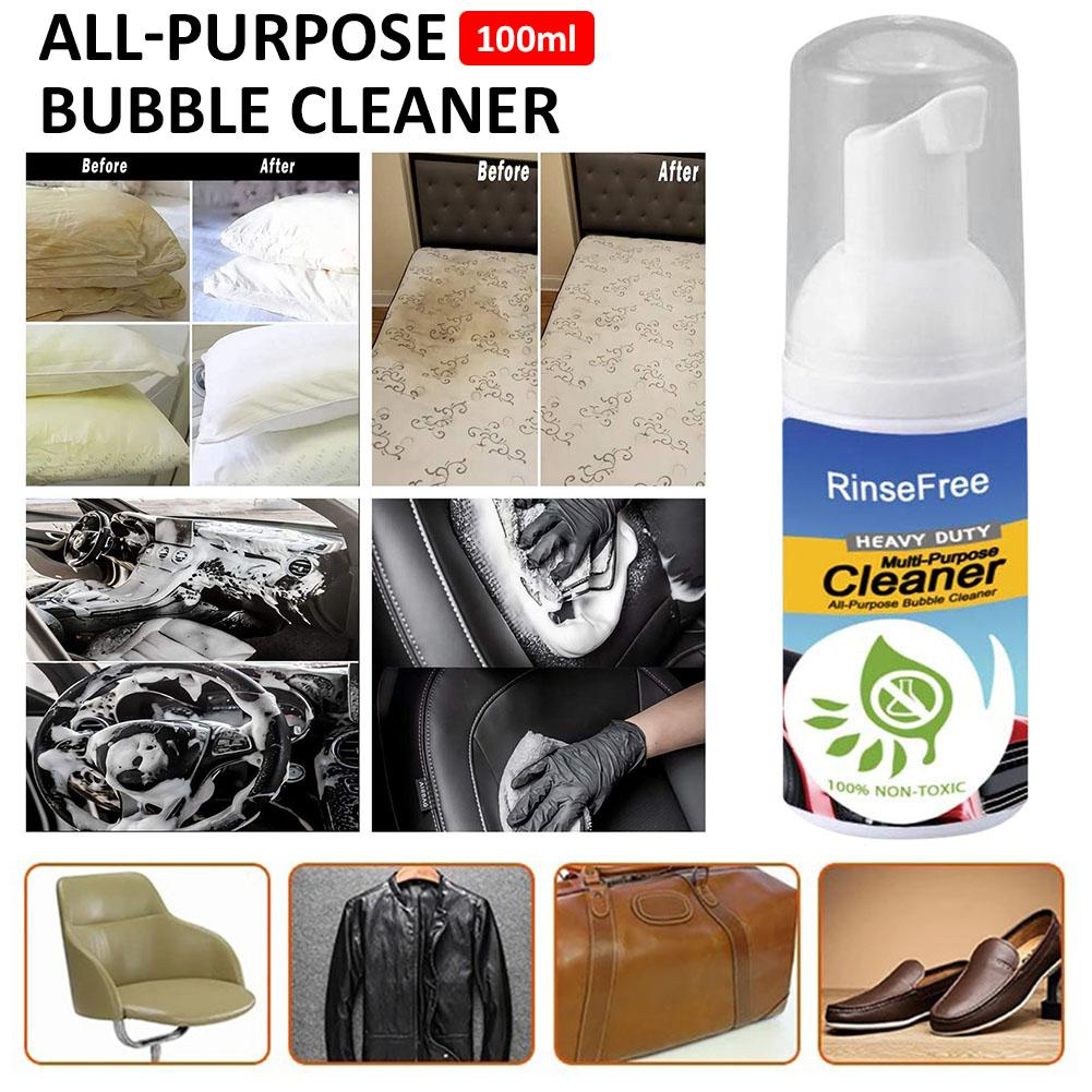 100ml Rinse free All Purpose Bubble Cleaner Multi functional Cleaning Spray Wash Blanket Kitchen Grease Grime Removal|Cleaning Brushes| |  - title=