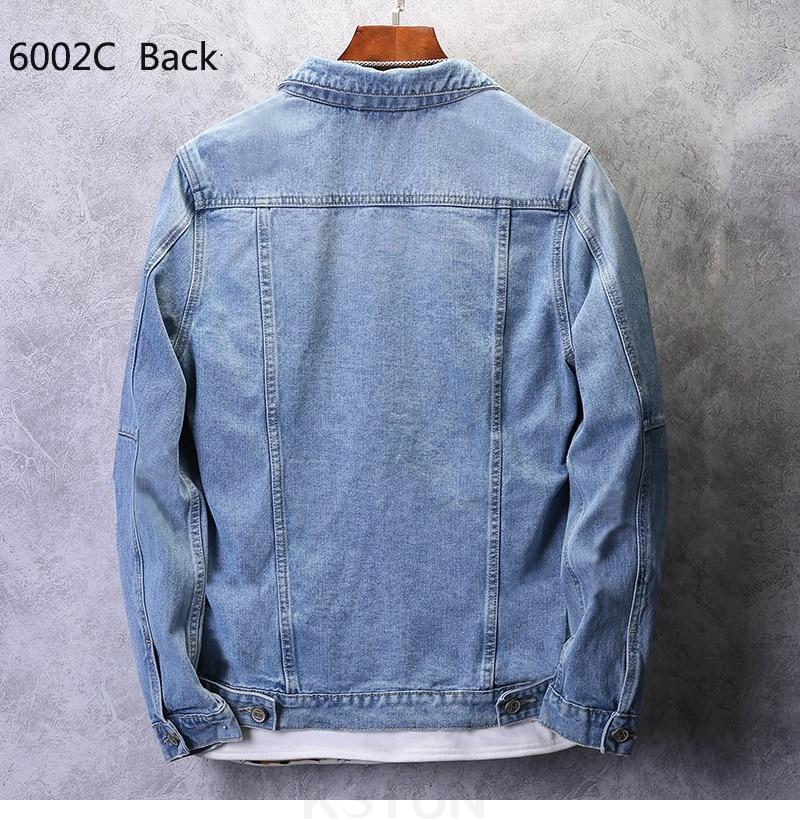 KSTUN Denim Jacket Men Jeans Jackets Streetwear Light Blue Jackets Casual Loose fit Outwear Coats Oversized Plus Size Jacket men 15