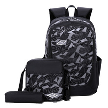 New backpack college wind three-piece large capacity outdoor leisure men and women travel bag