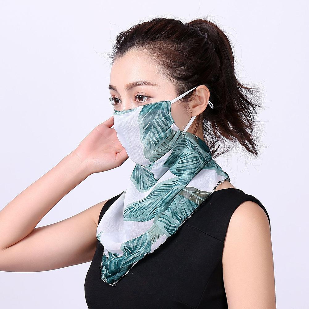Women Floral Print Windproof Anti-UV Scarf Fashion Women's Neck Sunscreen Scarf Mask Outdoor Sports Cycling Riding Face Mask