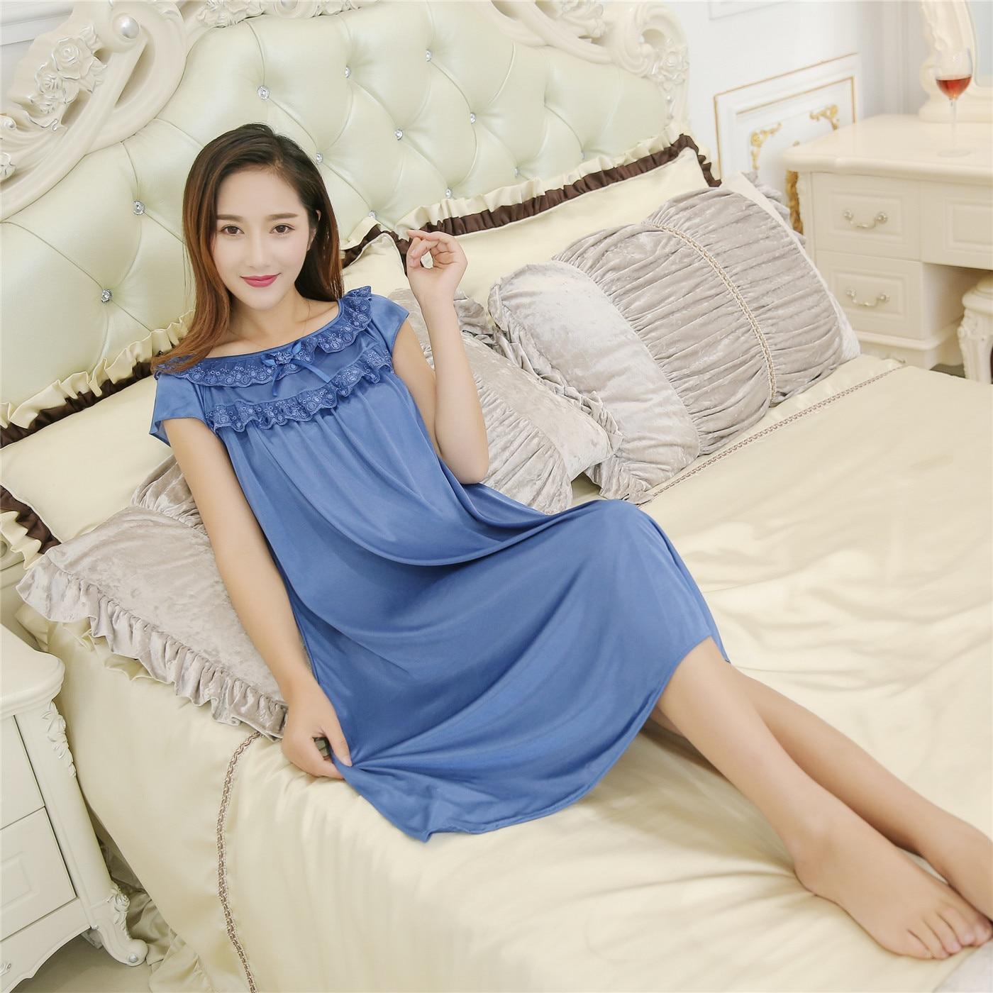 New Style Women's Summer Model Viscose Sexy Temptation Tracksuit Short Sleeve Nightgown Dress