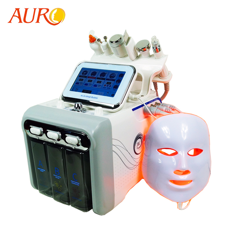 AURO Ultrasonic H2O2 Hydro Water Diamond Peeling Oxygen Vacuum RF BIO Hydrafacial Beauty Machine With LED Mask And SKin Scrubber