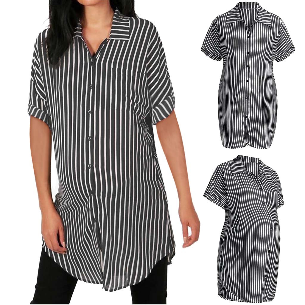 2019 New Maternity Clothes Women Striped Blouse Shirts Short Sleeve Button Turn Down Collar Casual Tops T-shirt For Pregnant