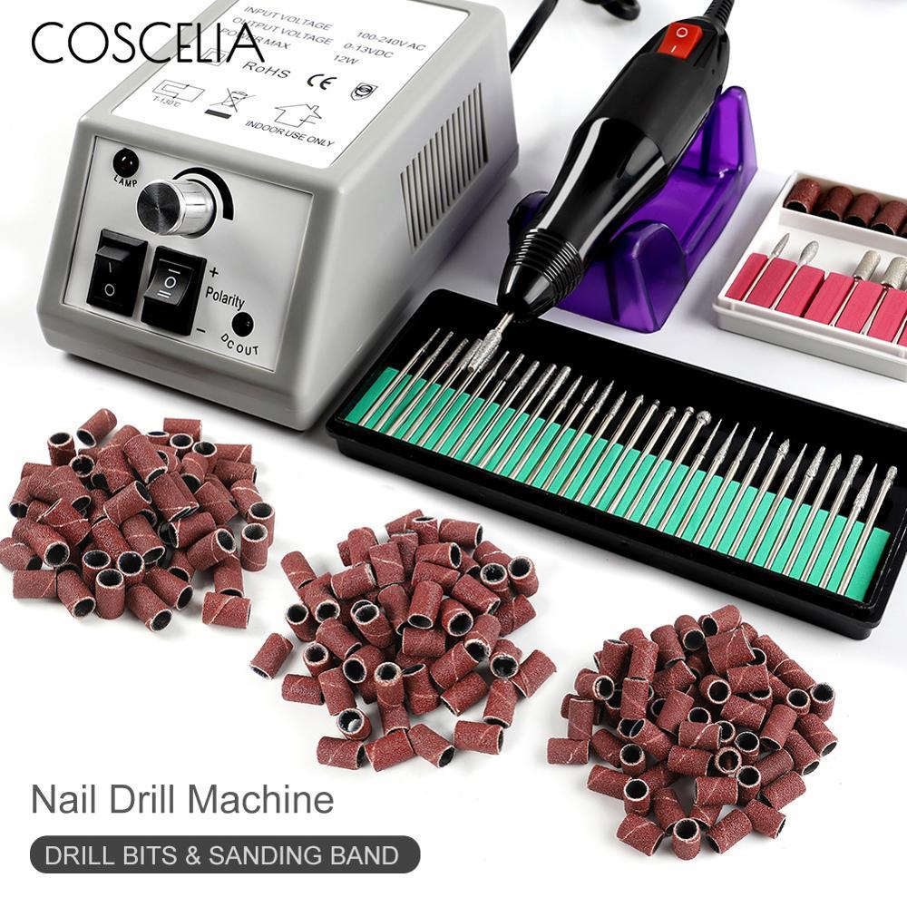 Nail Drill Machine Set 300Pcs Sanding Band Professional Milling Manicure Machine Set Kits Nail Art Tool Ceramic Nail drill Bit