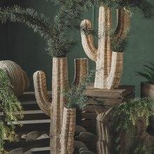 Large Rattan Weave Texture Crocodile Cactus Resin Statue Dec