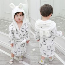 Children's baby pajamas in the spring and autumn 2019 household to take lovely hooded bunny ears bathrobe in the boy's long