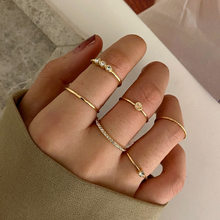 6pcs/lot Crystal Knuckle Ring Set Boho Punk Jewelry For Women Gold Color Adjustable Round Finger Ring Bohemian Anillos