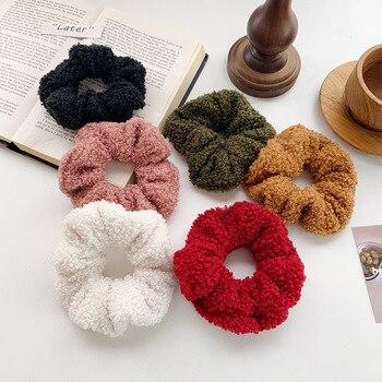 Winter Lamb Plush Warm Scrunchies Women Girls Elastic Hair Rubber Bands Accessories Tie Ring Rope Holder Headdress Headwear