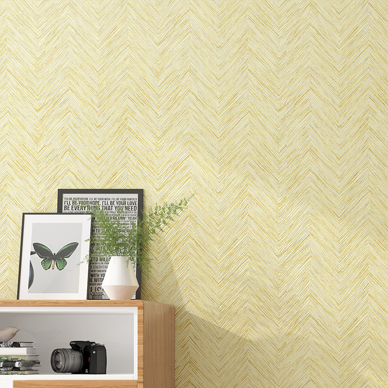 Chinese Style Retro Straw Nonwoven Fabric Vertical Striped Wallpaper Living Room Bedroom Hotel Decoration Plain Color Engineerin