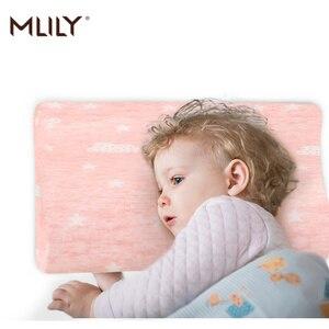 Gomma Piuma di Memoria Mlily Cuscino Dei Bambini Del Bambino Del Collo Cervicale Traspirante di Cotone Rosa Blu Cuscino per Dormire(China)