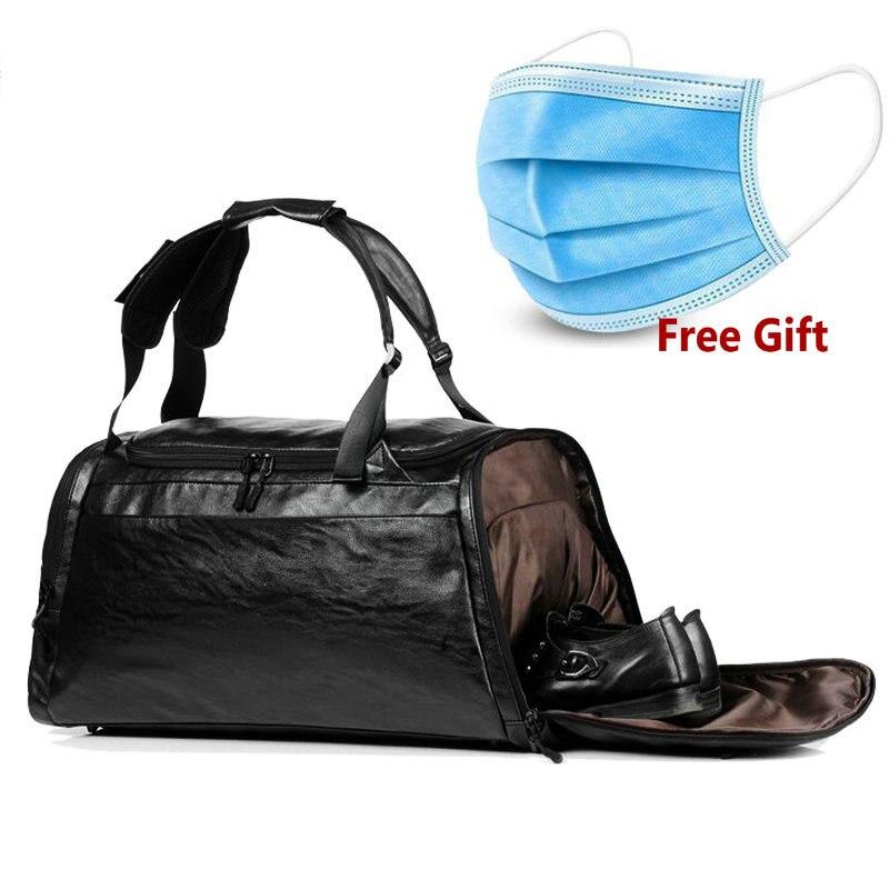 Gym Bags Leather Sport Backpack Men Black Big PU Training Crossbody Bag Women Brown Yoga Fitness Backpack Travel Luaggage Bags