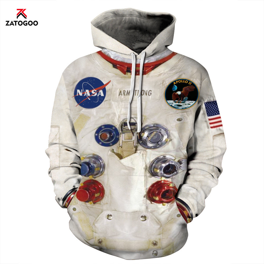 Women Man Winter Hoodies Tops 3D Skeleton Astronaut Space Suit Pullover Sweatshirt Blue Terror Pocket Outwear Clothes Warm White