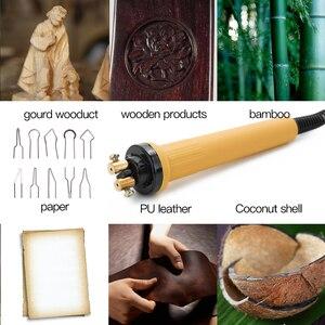 Image 2 - 110v/220v temperatura ajustável queimador de madeira pirografia caneta queima cabaça máquina artesanato conjunto de ferramentas com fio de solda