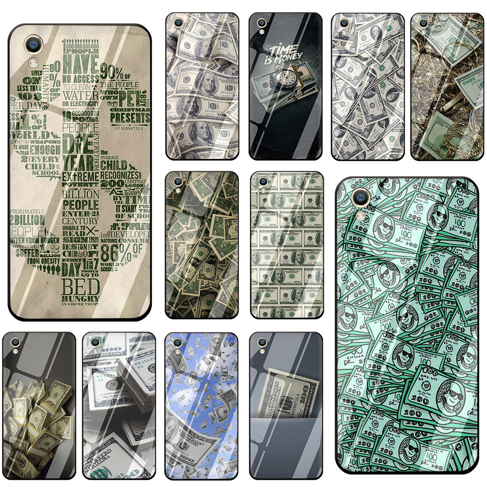 Big Money 100 Dollars design Tempered Glass Phone Cover <font><b>Case</b></font> For <font><b>OPPO</b></font> Reno Realme A3S A5 A1K A9 A37 A57 A59 A73 <font><b>A77</b></font> A83 F7 F9 image