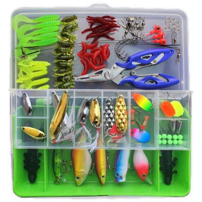 101pcs Lure Kit Set Spinner Crankbait Minnow Popper VIB Paillette Soft Hard Spoon Crank Baits Fishing Hooks Plier Stosh Pesca|Fishing Lures| |  -