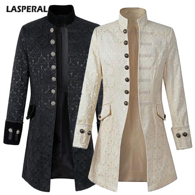 Fashion Steampunk Men Long Jacket Long Sleeve Gothic Jacket Plus Size 2018 Autumn Men Coat With Decorative Button