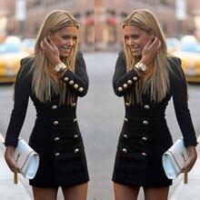 Long Sleeve Women Mini Dress Sexy V-neck Button Blazer