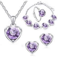 Fine jewelry 925 sterling silver suitable for ladies wedding heart silver light purple necklace earrings bracelet ring set yw069(China)