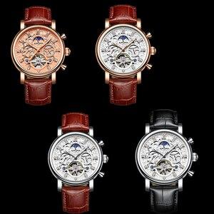 Image 5 - Kinyuedスケルトン自動腕時計メンズ太陽ムーンフェイズ防水メンズトゥールビヨン機械式時計トップブランドの高級腕時計