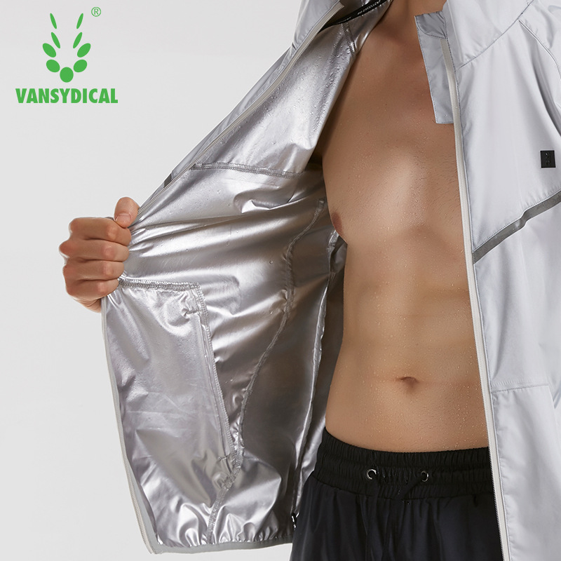 Vansydical Gym Clothing Mens Sports Jackets Sportswear Running Fitness Training Weight Loss Sweating Sauna Sports Suit