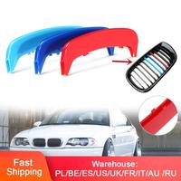 Set of 3 Color Racing Grille Fits For BMW 3 Series E46 2002 2004 Kidney Grille Grill Cover Stripe Clip|Front & Radiator Grills| |  -