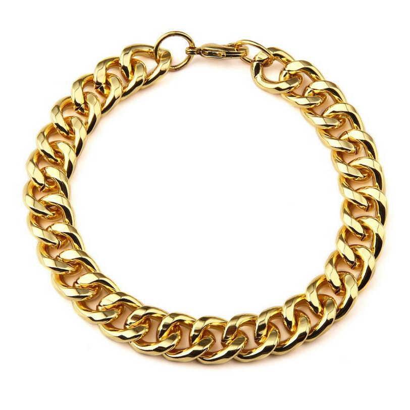 Złoty Bling pełne Rhinestone Starlord Curb kubański naszyjniki i bransoletki zestaw stopu cynku Hip Hop duży ciężki fajne łańcuch mężczyźni biżuteria damska