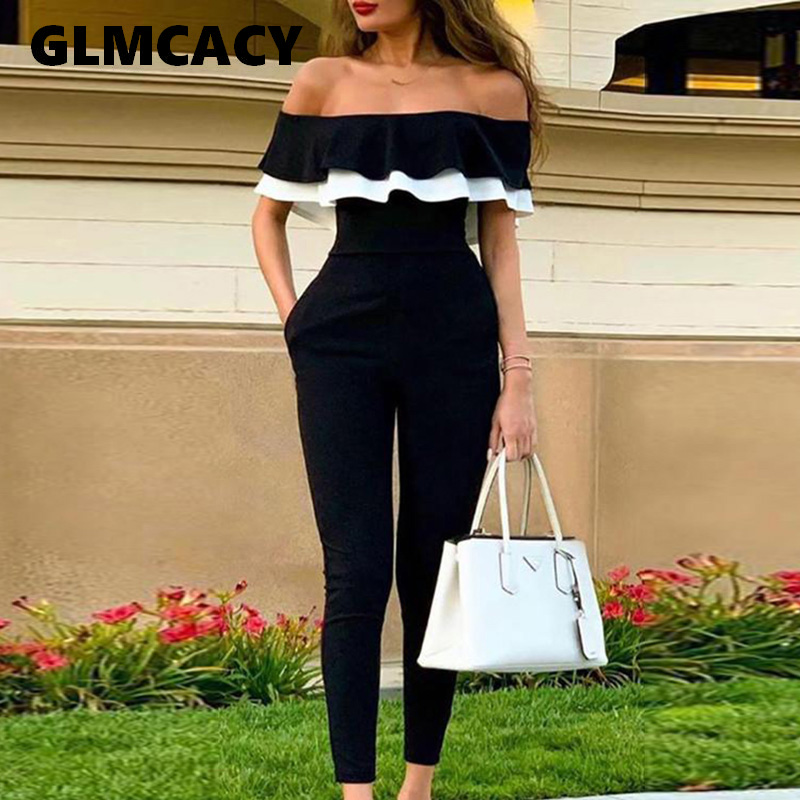 Women Off Shoulder Colorblock Ruffles Bodycon Jumpsuit Skinny Streetwear Office Ladies Slim Fit Black Jumpsuits
