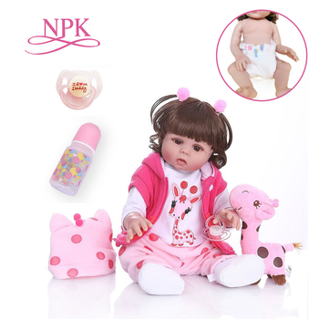 Curly hair 49CM bebe doll reborn toddler girl doll  in pink dress  full body soft silicone  realistic baby Bath toy waterproof